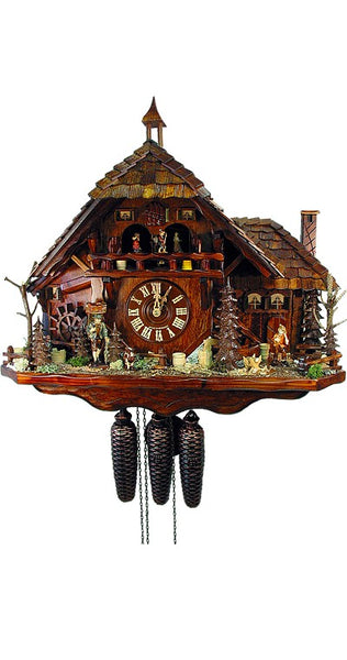 Cuckoo Clock Black Forest House 8-Day Movement with Music