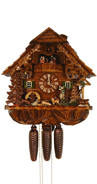 Cuckoo Clock Way Cross, Hunter and Mill Wheel 8-Day with Music - Cuckoo Clock Meister