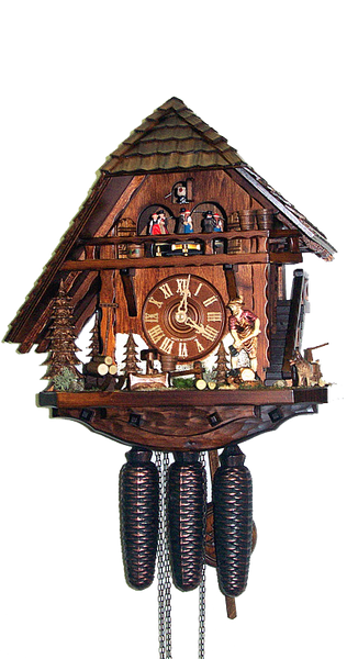 Cuckoo Clock Black Forest House One-Sided Roof 8-Day with Music - Cuckoo Clock Meister