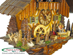 Cuckoo Clock Black Forest House with Well and Mill Wheel 1-Day with Music