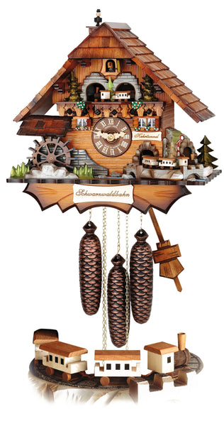 Cuckoo Clock Black Forest house with Moving Wheel, Moving Chimney Sweep and 2 Moving Trains by Hubert Herr - Cuckoo Clock Meister