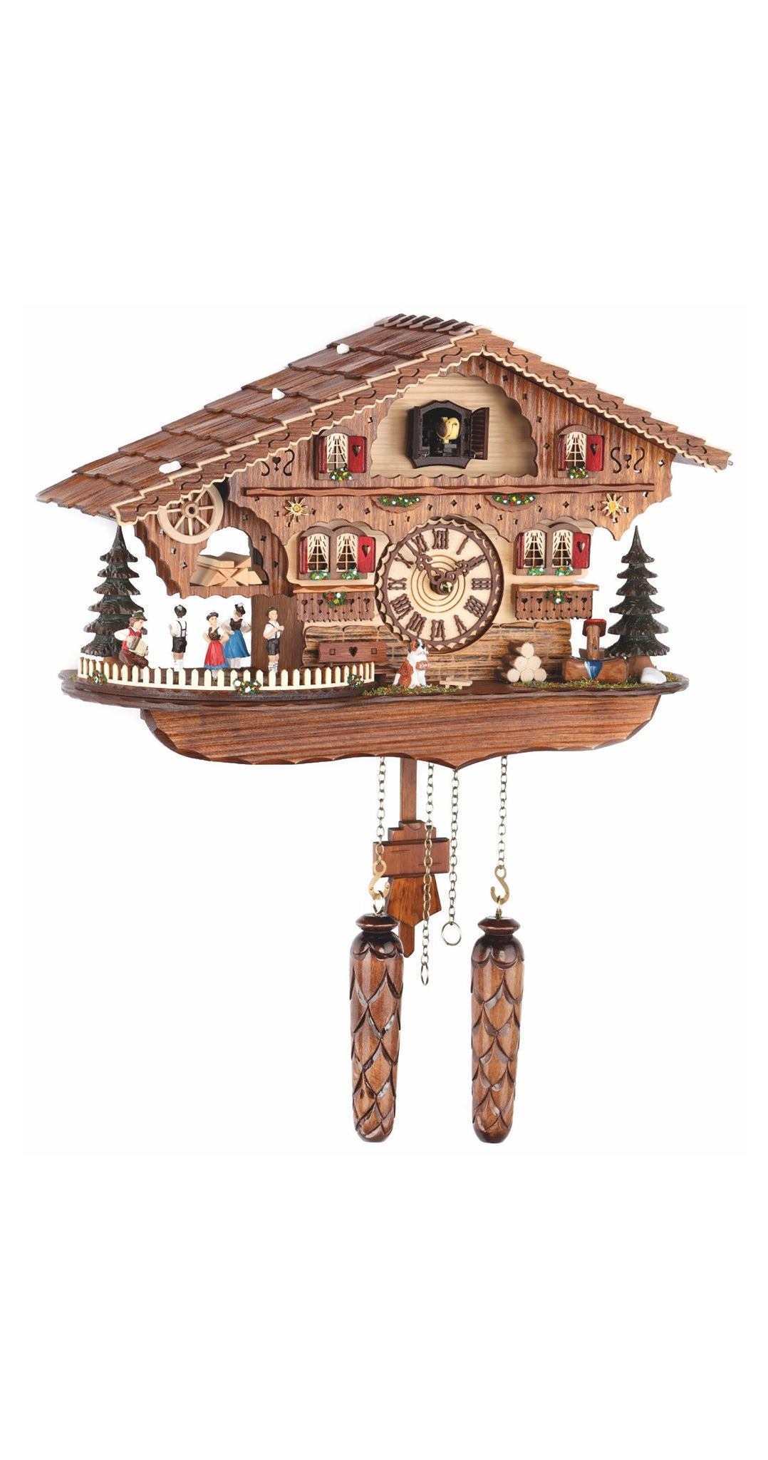 Quartz Cuckoo Clock Swiss House Moving Dancers with Music