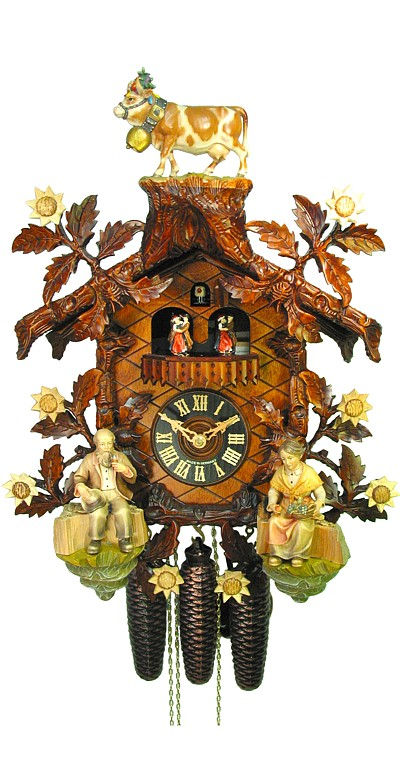 Cuckoo Clock Cattle Drive 8-Day Movement with Music By August Schwer - Cuckoo Clock Meister