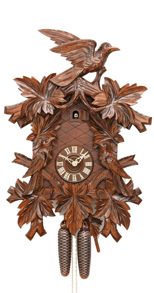 Cuckoo Clock Hunting Clock Seven Leaves Three Birds 8-Day Movement - Cuckoo Clock Meister