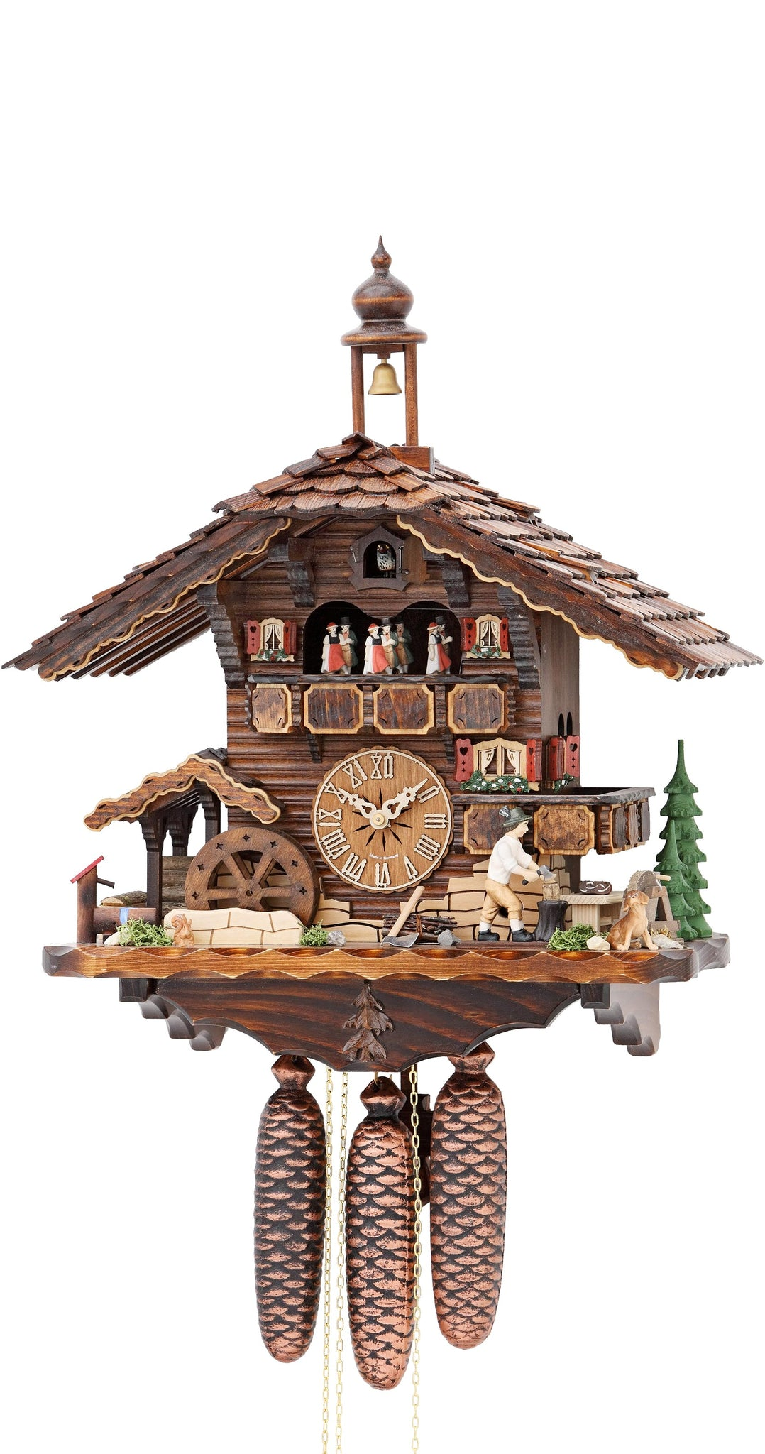 Cuckoo Clock Moving Wood Chopper Mill Wheel 8-Day with Music - Cuckoo Clock Meister