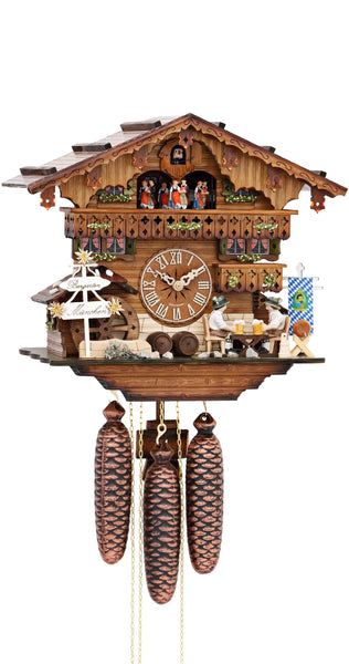 cuckoo clock moving beer drinkers mill wheel 8day movement with music