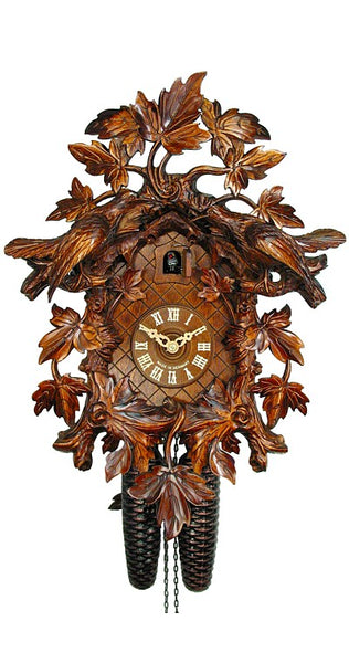 Cuckoo Clock 15 Leaves 2 Birds 8-Day Movement by August Schwer - Cuckoo Clock Meister