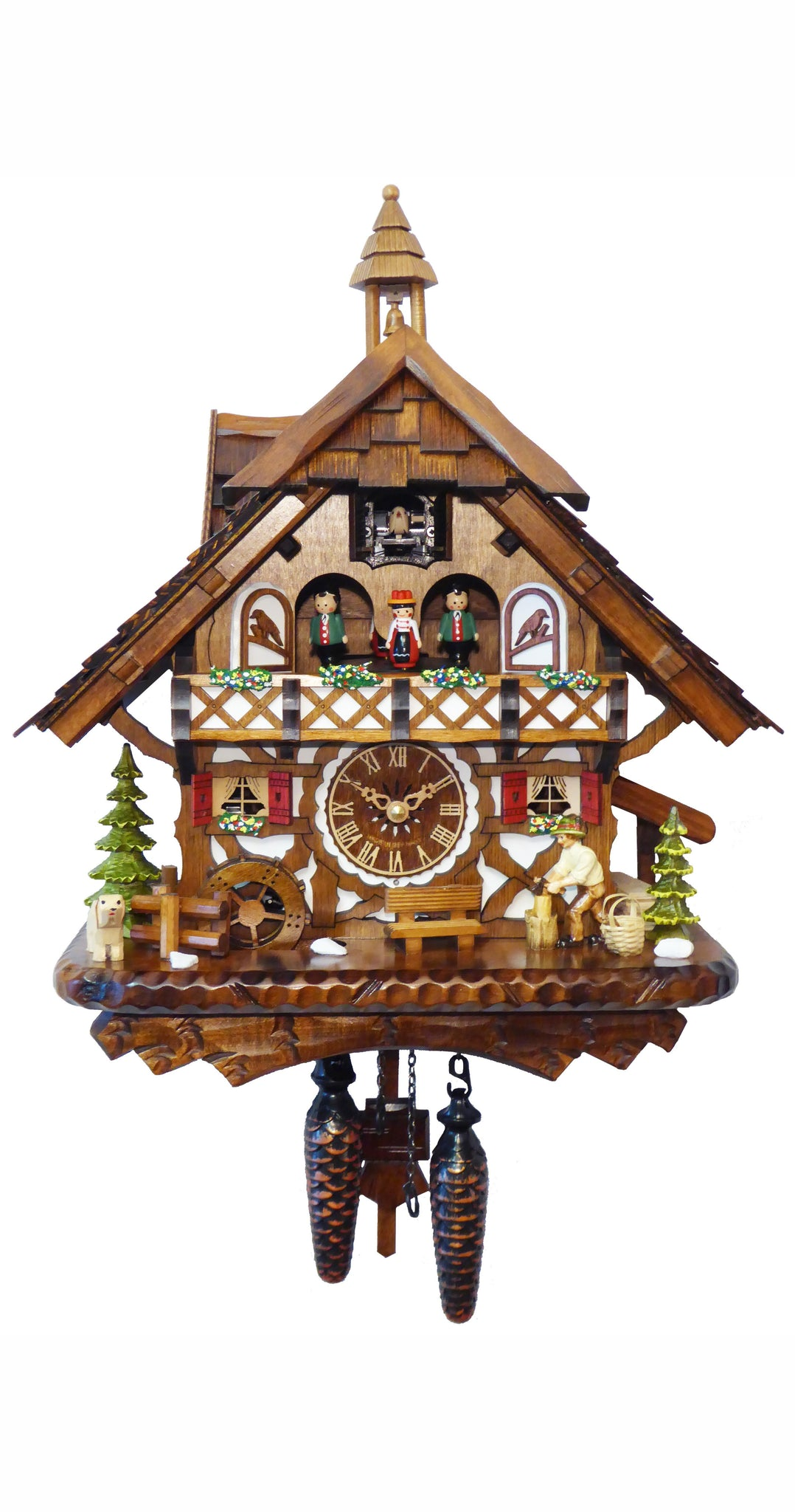 Quartz Cuckoo Clock Black Forest House Moving Chopper Mill Wheel - Cuckoo Clock Meister