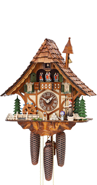 Cuckoo Clock Black Forest House Moving Girl & Wheel 8-Day Music - Cuckoo Clock Meister