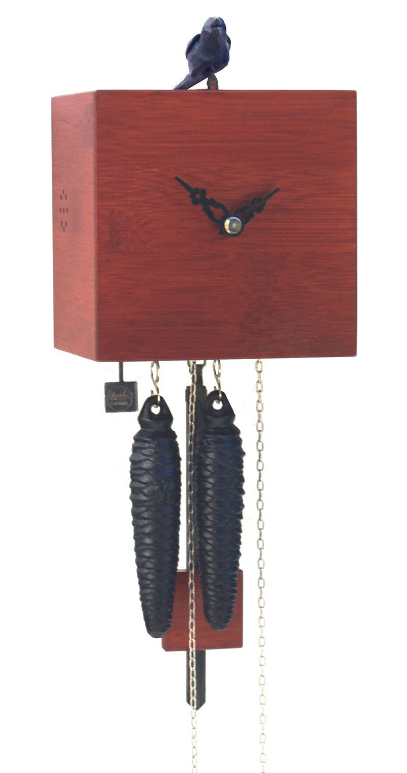 Modern Bamboo Cuckoo Clock in Red 1 Day Movement - Cuckoo Clock Meister