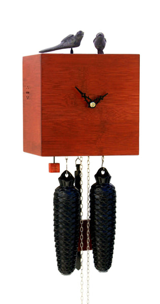 Modern Bamboo Cuckoo Clock in Red 8 Day Movement - Cuckoo Clock Meister