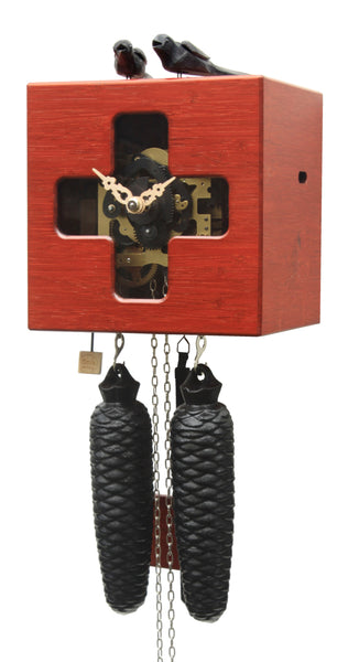 Modern Bamboo Cuckoo Clock Red 8 Day Movement - Cuckoo Clock Meister