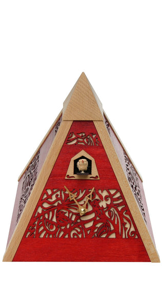 Modern Quartz Pyramid Cuckoo Clock in Red by Rombach & Haas - Cuckoo Clock Meister