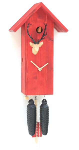 Modern Cuckoo Clock Simple Line Red 8-Day Movement - Cuckoo Clock Meister
