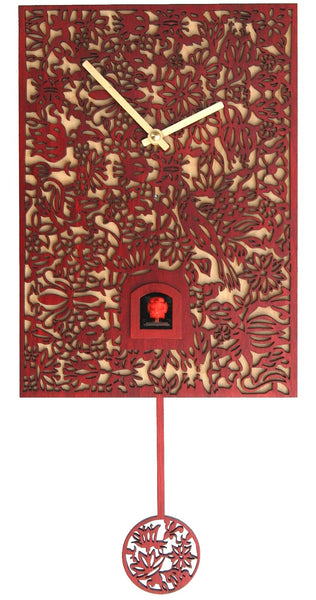 Modern Quartz Silhouette Cuckoo Clock in Red by Rombach & Haas - Cuckoo Clock Meister