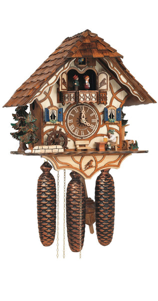Cuckoo Clock Black Forest House with Moving Beer Drinker and Mill Wheel by Schneider - Cuckoo Clock Meister