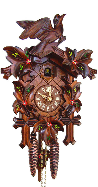 Cuckoo Clock Five Leaves with Colors and Bird by Schneider - Cuckoo Clock Meister