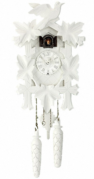 Quartz Cuckoo Clock Five Leaves & Bird in White by Trenkle - Cuckoo Clock Meister