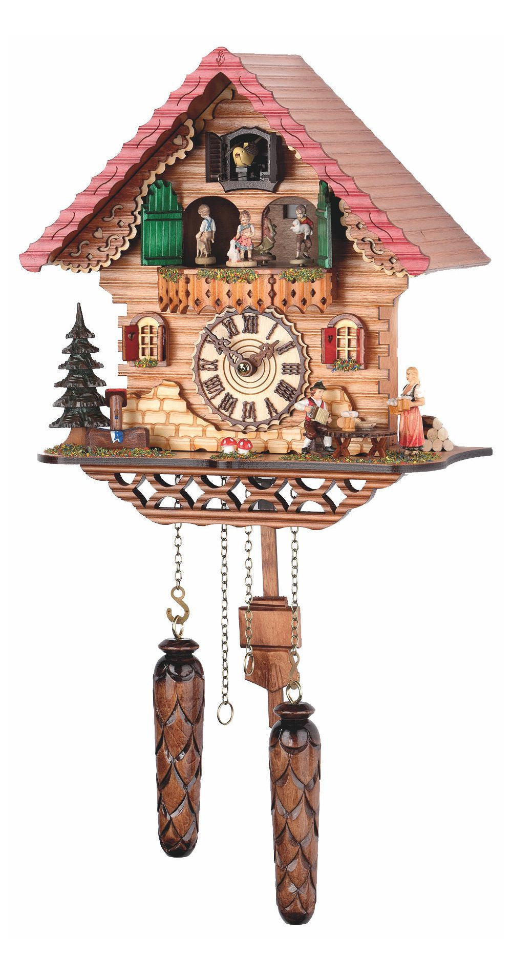 Quartz Cuckoo Clock Black Forest House Moving Dancers with Music - Cuckoo Clock Meister