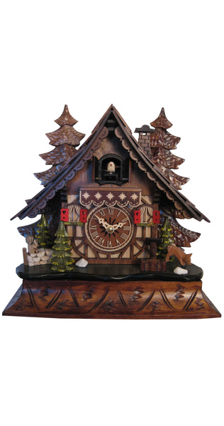 Quartz Cuckoo Clock Dark Black Forest House with Music - Cuckoo Clock Meister