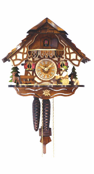 Cuckoo Clock Black Forest House Wood Chopper 1-Day Movement - Cuckoo Clock Meister