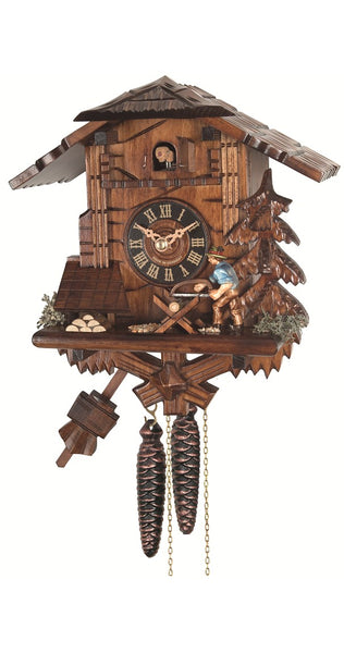 Cuckoo Clock Black Forest House with Wood Chopper 1-Day Movement - Cuckoo Clock Meister