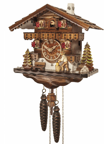 Cuckoo Clock Black Forest House with Moving Wood Chopper 1-Day Movement - Cuckoo Clock Meister