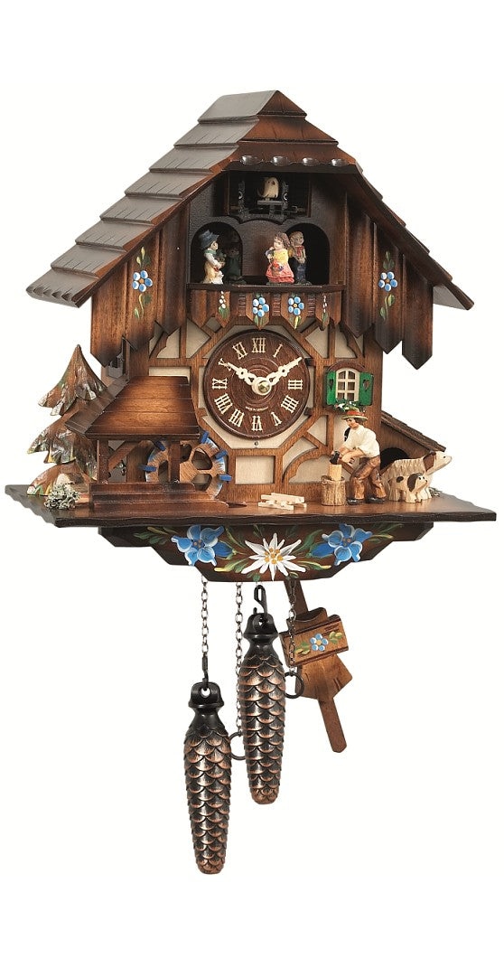 Cuckoo Clock Black Forest House Wheel and Chopper 1-Day with Music - Cuckoo Clock Meister