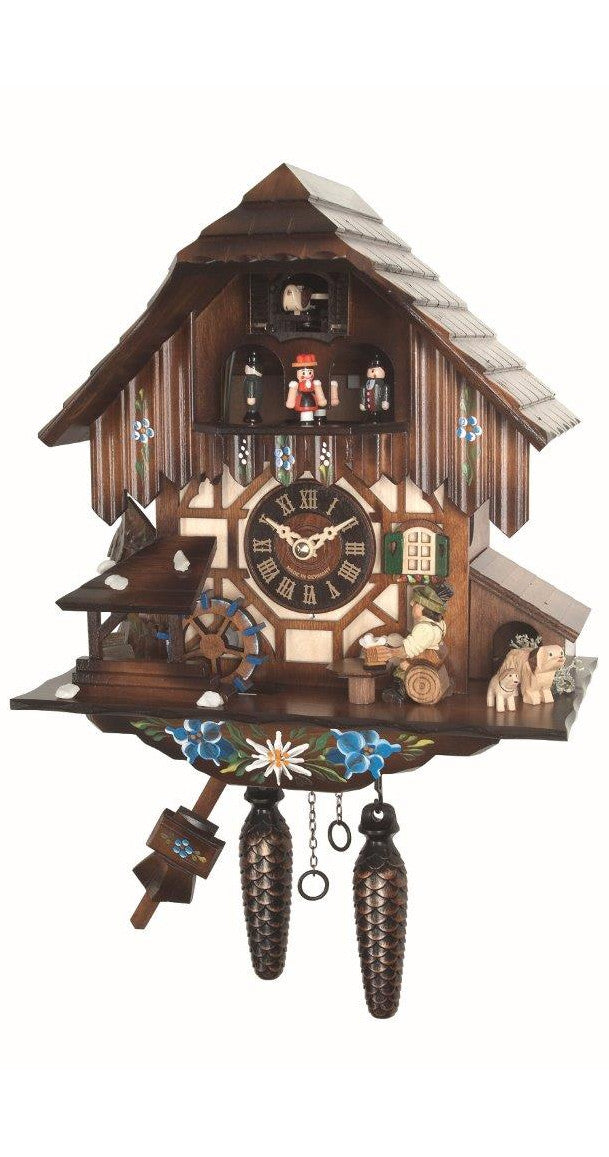 Quartz Cuckoo Clock Black Forest House Beer Drinkers and Wheel Music - Cuckoo Clock Meister