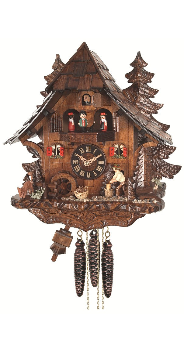 Cuckoo Clock Black Forest House Mill Wheel and Wood Chopper 1-Day Music - Cuckoo Clock Meister