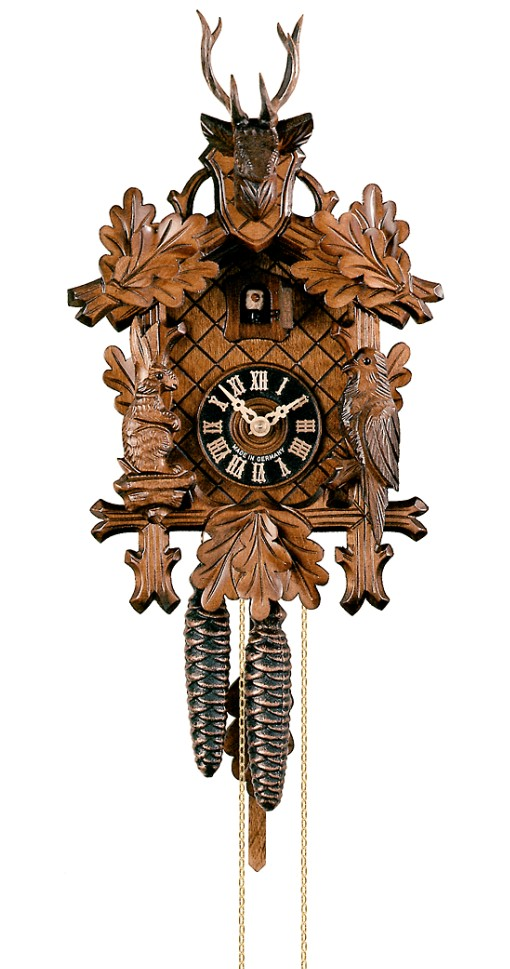 Cuckoo Clock Three Leaves and Deer Head 1-Day Movement - Cuckoo Clock Meister