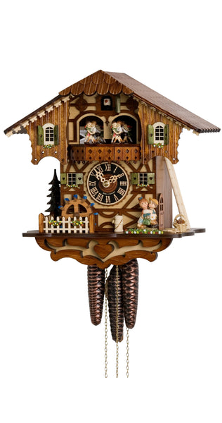 Cuckoo Clock Black Forest House Kissing Couple and Wheel 1-Day with Music