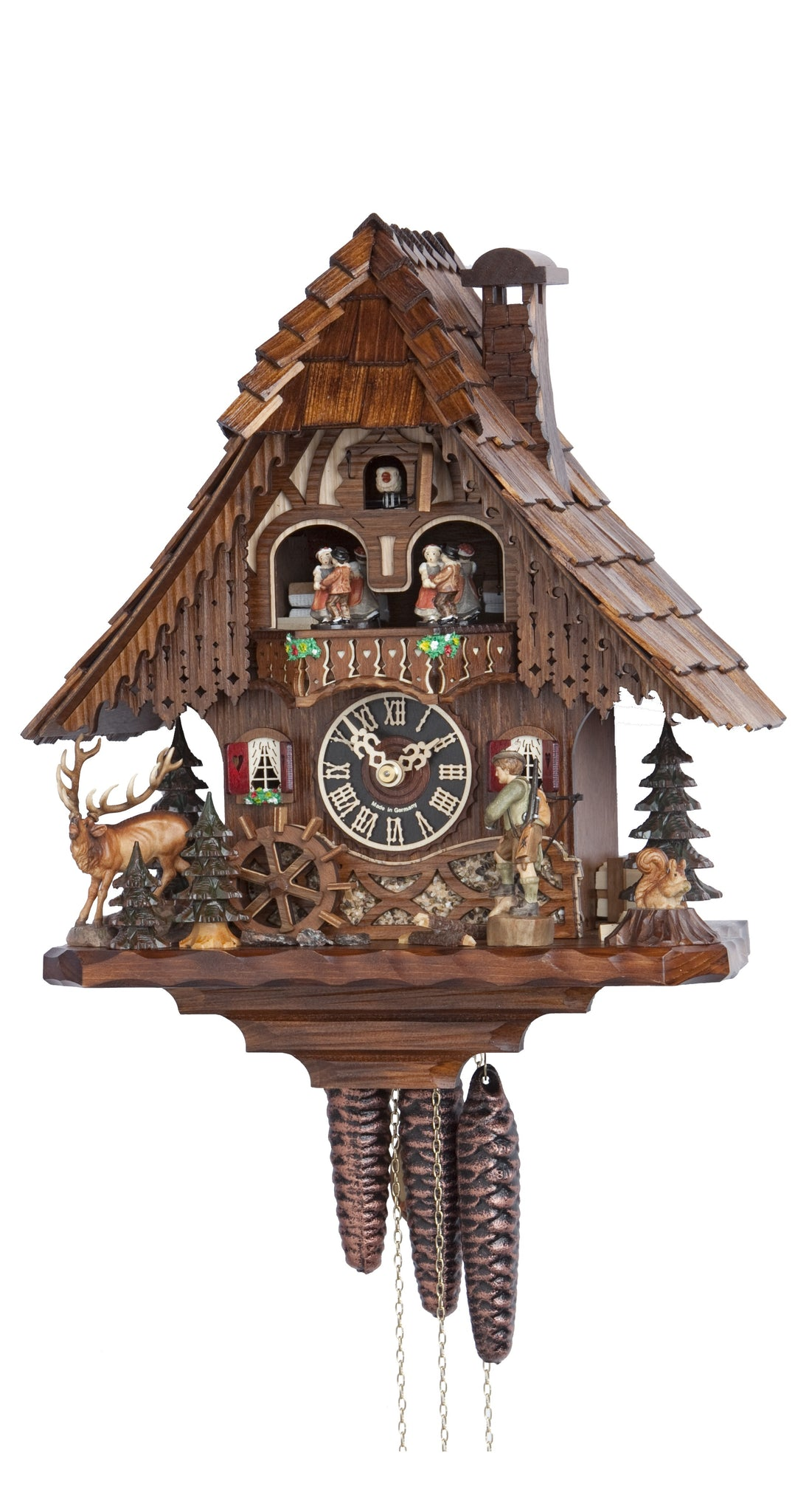 Cuckoo Clock Black Forest Scene with Hunter 1-Day Movement Music - Cuckoo Clock Meister