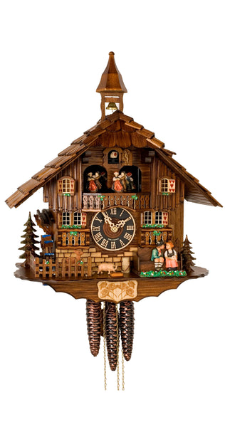 Cuckoo Clock Moving Kissing Couple and Wheel 1-Day Movement Music