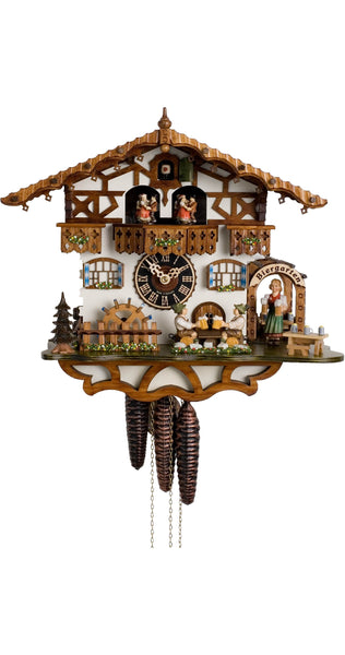 Cuckoo Clock Black Forest House Beer Drinkers Wheel 1-Day with Music