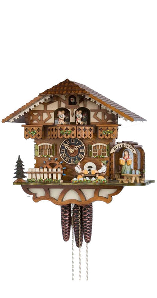 Cuckoo Clock Black Forest House Beer Drinkers 1-Day Movement Music