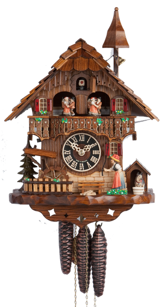 Cuckoo Clock Black Forest House Moving Wheel 1-Day Movement Music