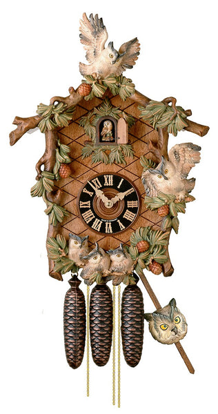 Cuckoo Clock Black Forest Owl Clock 8-Day Movement with Music