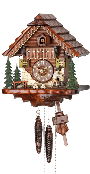 Cuckoo Clock Black Forest House Moving Wood Chopper 1-Day Movement - Cuckoo Clock Meister