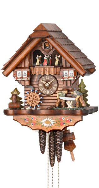 Cuckoo Clock Black Forest House Wood Sawyers and Wheel 1-Day with Music - Cuckoo Clock Meister