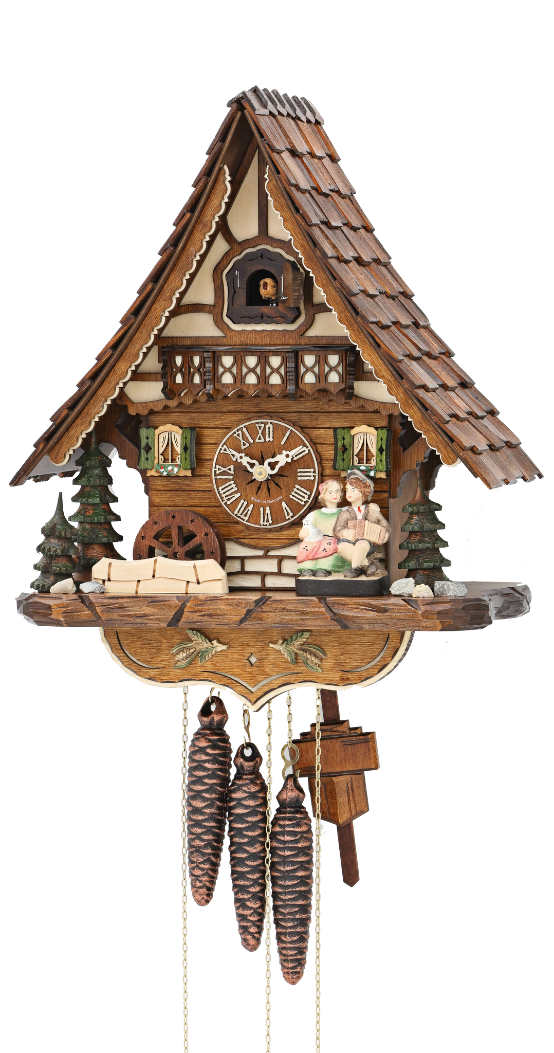 Cuckoo Clock Black Forest House Moving Kissing Couple 1-Day Movement Music - Cuckoo Clock Meister