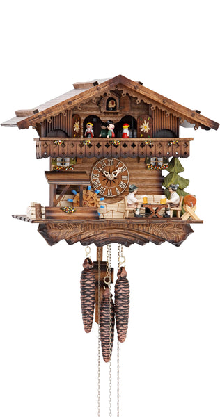 Cuckoo Clock Black Forest House Beer Drinkers and Wheel 1-Day with Music