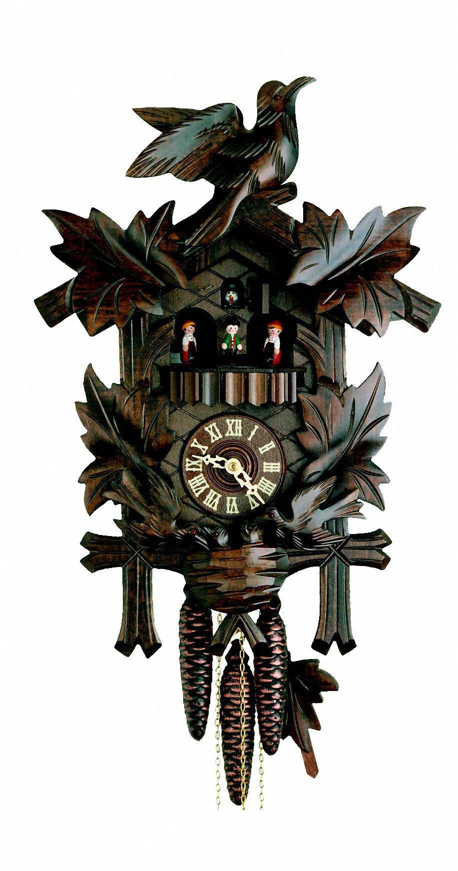 Cuckoo Clock Four Leaves with Feeding Birds and Nest 8-Day Music