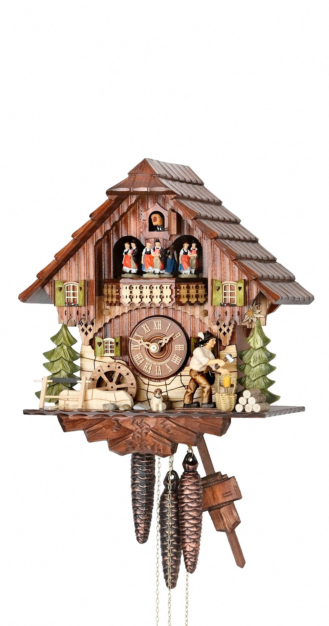 Cuckoo Clock Black Forest House Chopper Wheel 1-Day Movement Music - Cuckoo Clock Meister