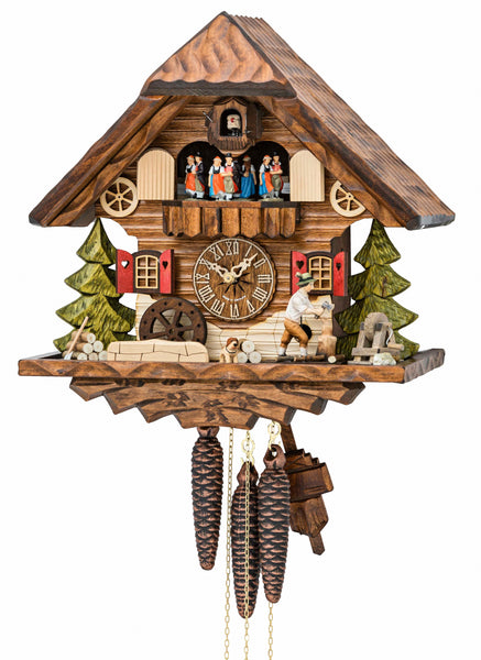Cuckoo Clock Black Forest House with Mill Wheel 1-Day Movement Music - Cuckoo Clock Meister