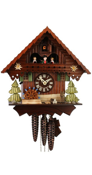 Cuckoo Clock Black Forest House Moving Mill Wheel 1-Day Movement Music
