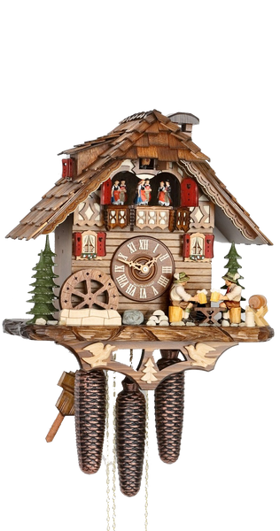 Cuckoo Clock Black Forest House Mill Wheel and Beer Drinkers 8-Day Music - Cuckoo Clock Meister