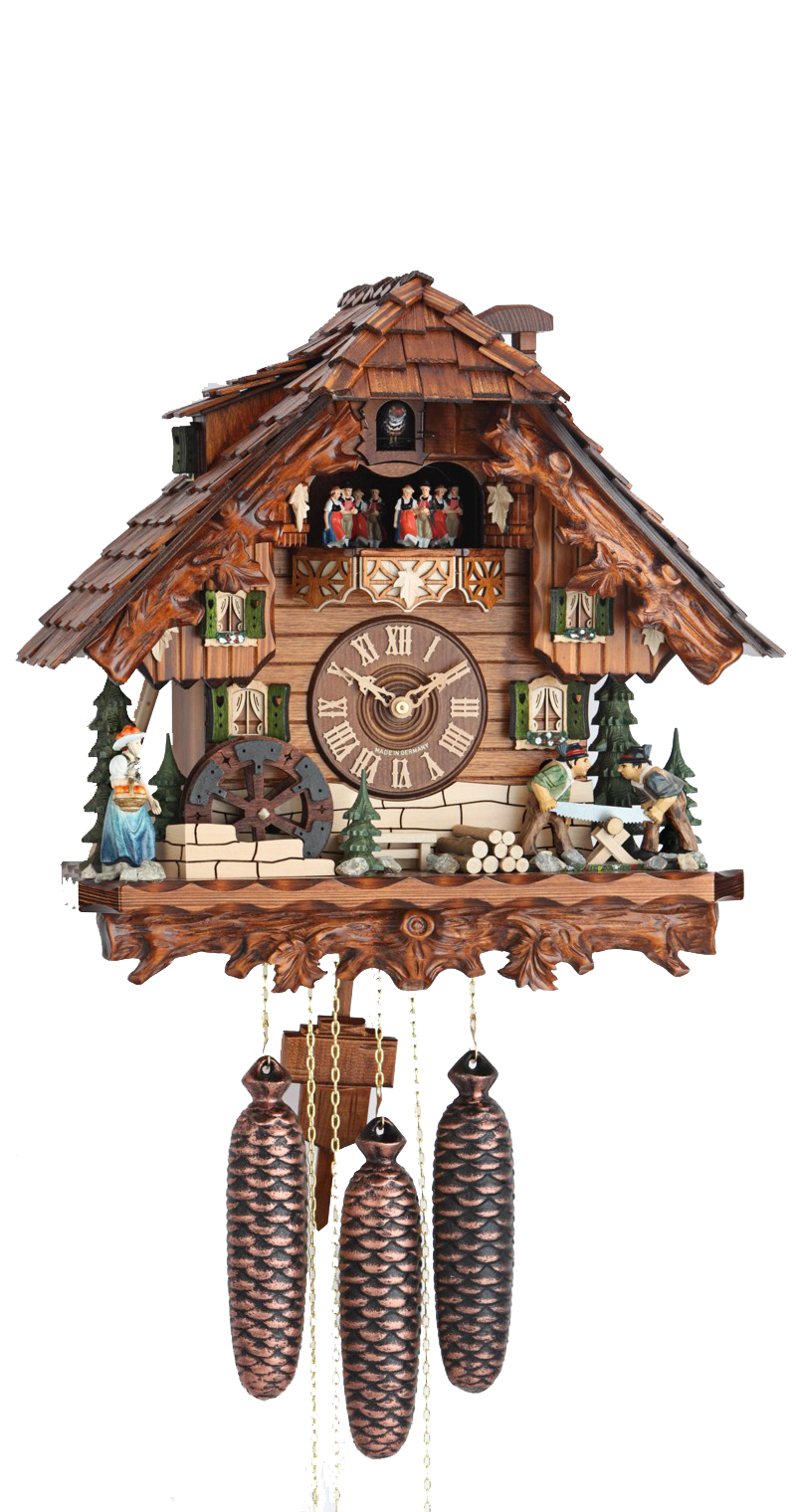 Cuckoo Clock Black Forest House Wood Chopper Wheel 8-Day Movement Music - Cuckoo Clock Meister