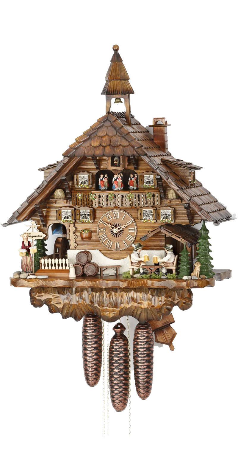 Cuckoo Clock Moving Beer Drinkers Mill Wheel 8-Day Movement Music - Cuckoo Clock Meister