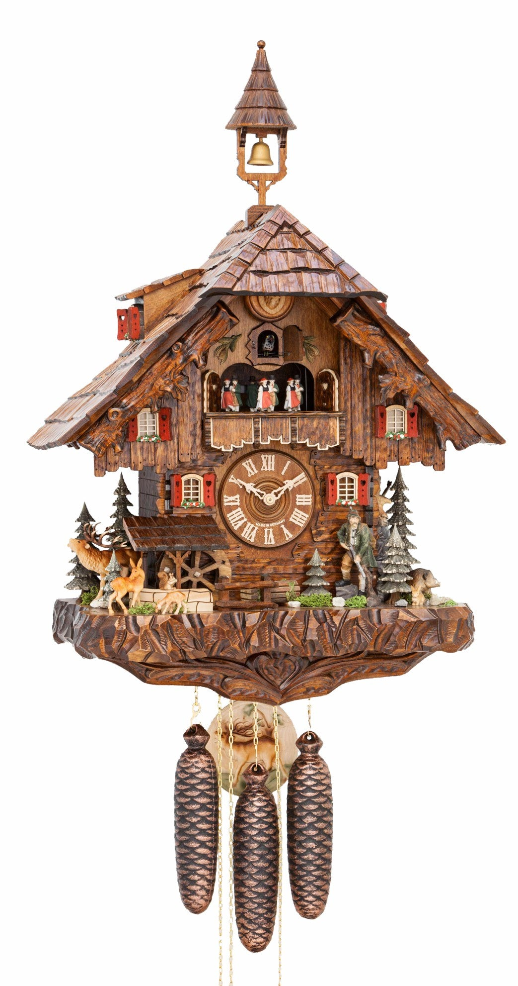 Cuckoo Clock Hunter's Forest House Moving Mill Wheel 8-Day Music - Cuckoo Clock Meister